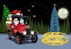 Vectorkerstkaart met vrachtwagen van beeldverhaal retro Kerstmis royalty-vrije illustratie