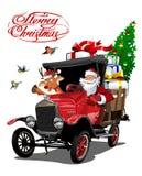 Vectorkerstkaart met vrachtwagen van beeldverhaal retro Kerstmis stock illustratie