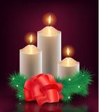 Vectorkerstmis, nieuwe jaarkaart, 3 brandende kaarsen Stock Afbeelding