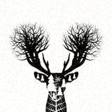 Vectorkerstmisconceptontwerp van rendier en pijnboomboombos Royalty-vrije Stock Afbeeldingen