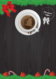 Vectorkerstmisillustratie - koffiekop op lijst Stock Foto's