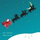 Vectorkerstmiskaart met vliegende Slee met Santa Claus Royalty-vrije Stock Afbeeldingen