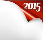 Vectorkerstmisnieuwjaarskaart - Blad van document met een krul 2015 Stock Foto