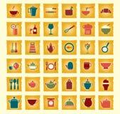 Vectorkeuken en voedselpictogrammen Royalty-vrije Stock Afbeelding
