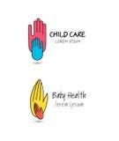 Vectorkinderverzorging, babygezondheid, liefdadigheid, familie Royalty-vrije Stock Fotografie