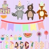 Vectorklemkunst voor verjaardagspartij met bosdieren Stock Afbeelding