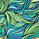Vectorkleur hand-trekkende golf overzeese achtergrond Blauwe abstracte oceaantextuur Stock Fotografie