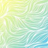 Vectorkleur hand-trekkende golf overzeese achtergrond Blauwe abstracte oceaantextuur Royalty-vrije Stock Afbeeldingen