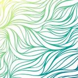 Vectorkleur hand-trekkende golf overzeese achtergrond Blauwe abstracte oceaantextuur Stock Afbeelding