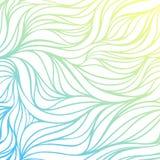 Vectorkleur hand-trekkende golf overzeese achtergrond Blauwe abstracte oceaantextuur Royalty-vrije Stock Fotografie