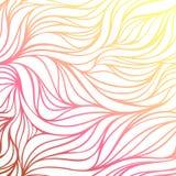 Vectorkleur hand-trekkende golf zonnige achtergrond Textuur van de gradiënt de abstracte brand Stock Illustratie