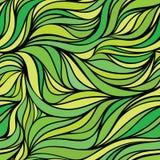 Vectorkleur hand-trekkende naadloze golfachtergrond Groene samenvatting Stock Illustratie