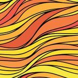 Vectorkleur hand-trekkende naadloze golfachtergrond Het rood en schreeuwt Vector Illustratie