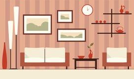 Vectorkleuren binnenlandse illustratie van beeldverhaal minimalistic moder Stock Illustratie