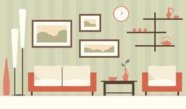 Vectorkleurenbinnenland van beeldverhaal groene moderne woonkamer Royalty-vrije Illustratie