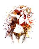 Vectorkleurenillustratie van vrouw in zwempak Stock Afbeelding