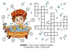 Vectorkleurenkruiswoordraadsel Het meisje neemt een bad met schuim Stock Afbeeldingen