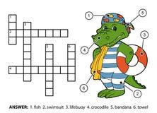 Vectorkleurenkruiswoordraadsel Krokodilzwemmer met reddingsboei Stock Foto