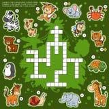 Vectorkleurenkruiswoordraadsel, onderwijsspel over dieren Royalty-vrije Stock Fotografie