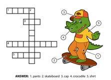 Vectorkleurenkruiswoordraadsel Vrolijke krokodil op een skateboard Stock Fotografie