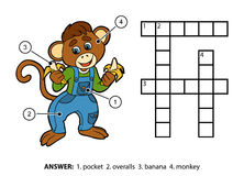 Vectorkleurenkruiswoordraadsel Weinig aap en bananen Stock Afbeelding