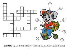 Vectorkleurenkruiswoordraadsel Weinig konijn die een fiets berijden Stock Afbeeldingen
