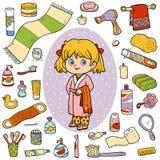 Vectorkleurenreeks van badkamersvoorwerpen, meisje en badjas stock illustratie