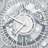Vectorklok met Roman Numerals Het mechanisme van het uurwerk stock illustratie