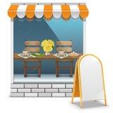 Vectorkoffie met Aanplakbord royalty-vrije illustratie