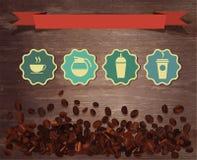 Vectorkoffiebonen op houten achtergrond royalty-vrije illustratie