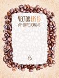 Vectorkoffiemenu met de achtergrond van koffiebonen Stock Foto