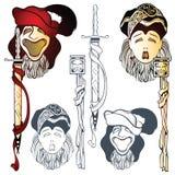 Vectorkomedie en tragedie theatrale maskers Royalty-vrije Stock Foto