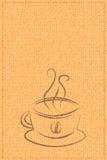 Vectorkop van koffie op een achtergrondtextuur Stock Foto