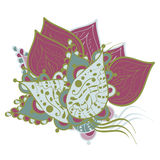 Vectorkrabbelillustratie Kleurende pagina met abstract bloemenpatroon Royalty-vrije Stock Foto