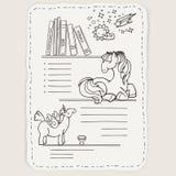 Vectorkrabbelpagina voor jonge geitjes en kinderen Poney en boeken stock illustratie