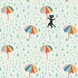 Vectorkrabbelpatroon met regendaling, vliegende paraplu's en schadelijke zwarte kat Mooi abstract patroon, seizoen royalty-vrije illustratie