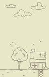 Vectorkrabbelplattelandshuisje met boom en wolk in overzichtsstijl Royalty-vrije Stock Afbeeldingen