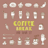 Vectorkrabbelreeks Hand getrokken koffieelementen Zoete croissant en een kop van koffie op de achtergrond Stock Foto's