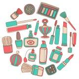 Vectorkrabbelreeks parfum en schoonheidsmiddelen Stock Afbeelding