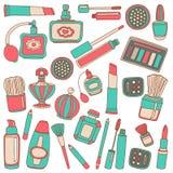 Vectorkrabbelreeks parfum en schoonheidsmiddelen Royalty-vrije Stock Afbeeldingen