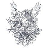 Vectorkroon met hand getrokken chrysantenbloemen en een vogel stock illustratie