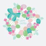 Vectorkroon van eieren, bloemen en lint Stock Foto's