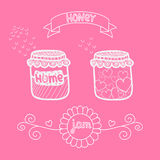 Vectorkruik met stickers en lint Eigengemaakte jam of honing vector illustratie