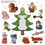 Vectorkruiswoordraadsel, onderwijsspel voor kinderen over Kerstmis PR royalty-vrije illustratie