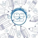 Vectorkunst kleurrijke tekening van gelukkige persoon, onderwijs Royalty-vrije Stock Foto