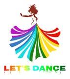 vectorkunst van een mooie dansende dame met kleurrijke kleding stock illustratie