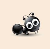 Vectorkunst van grappig/leuk zwart mierenbeeldverhaal Stock Foto
