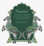 Vectorkunst van het ontwerp/het embleem van het paardschild Stock Afbeelding