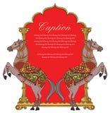 Vectorkunst van het ontwerp/het embleem van het paardschild voor groetkaart Stock Afbeelding