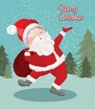 Vectorkunst van Kerstmis de Kerstman voor groetkaart Royalty-vrije Stock Foto
